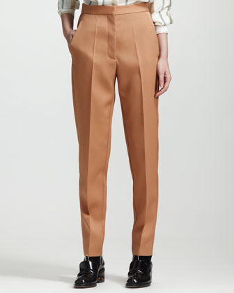 Wool Twill Center-Pleat Ankle Pants
