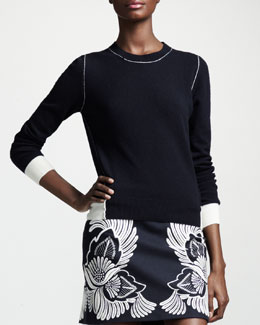 Stella McCartney Contrast-Trim Cashmere Crewneck Sweater
