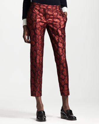 Cropped Flower-Feather Jacquard Pants