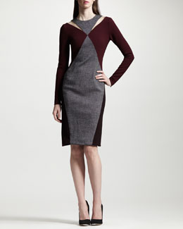 Stella McCartney Tweed Panel Two-Tone Knit Dress