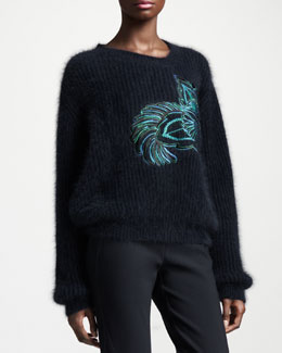 Stella McCartney Flower-Embroidered Angora-Blend Sweater