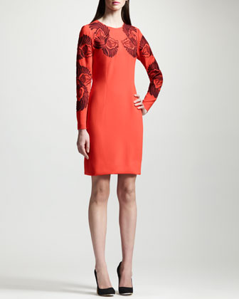 Flower-Embroidered Stretch Cady Sheath Dress