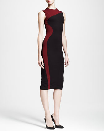 Colorblock-Wave Sheath Dress