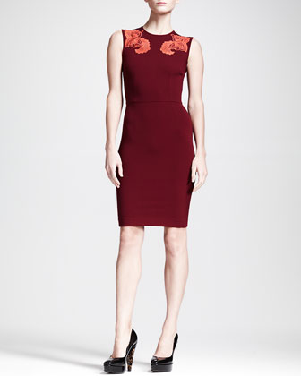 Feather Floral Applique Sheath Dress