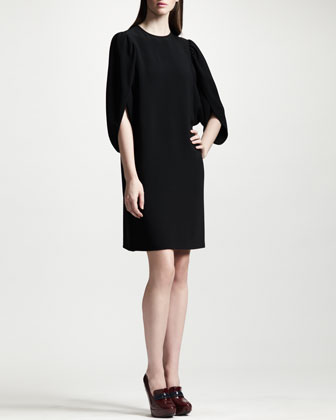 Tulip-Sleeve Cady Shift Dress