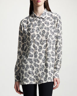 Stella McCartney Feather-Print Silk Blouse