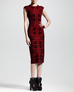 Alexander McQueen Stained Glass Knit Sheath Dress