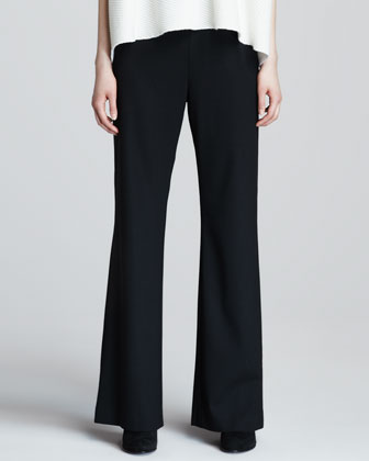 Flat-Front Boot-Cut Wool Trousers, Black