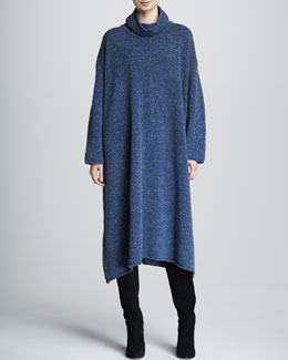 eskandar A-Line Merino Wool Monk's Dress, Denim Blue