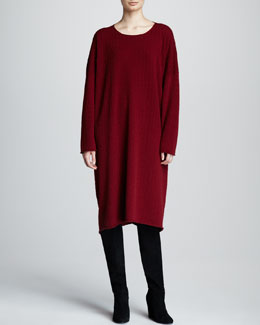 eskandar Raw-Edge Cashmere Dress, Red