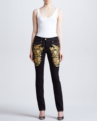 Embroidered Skinny Jeans, Black/Gold