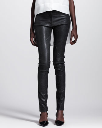 Distressed Leather Skinny Pants