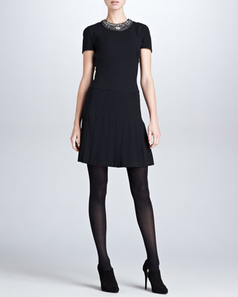 Marguerite Beaded-Neck Dress, Black