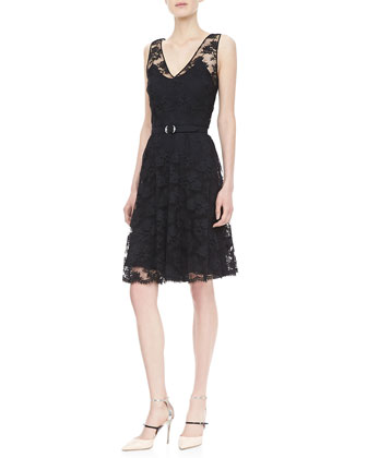 Rhys Belted Lace Dress, Black