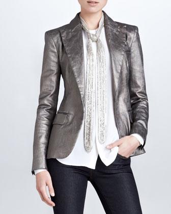 Danice Metallic Blazer, Gunmetal