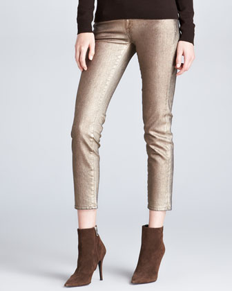 400 Cropped Matchstick Metallic Jeans, Aged Bronze