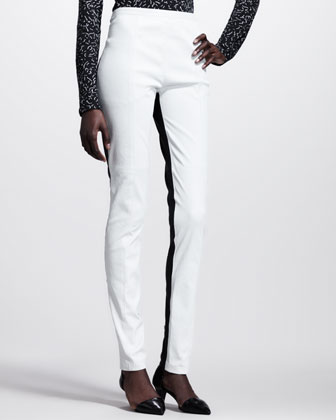 Bicolor Leather High-Waist Pants