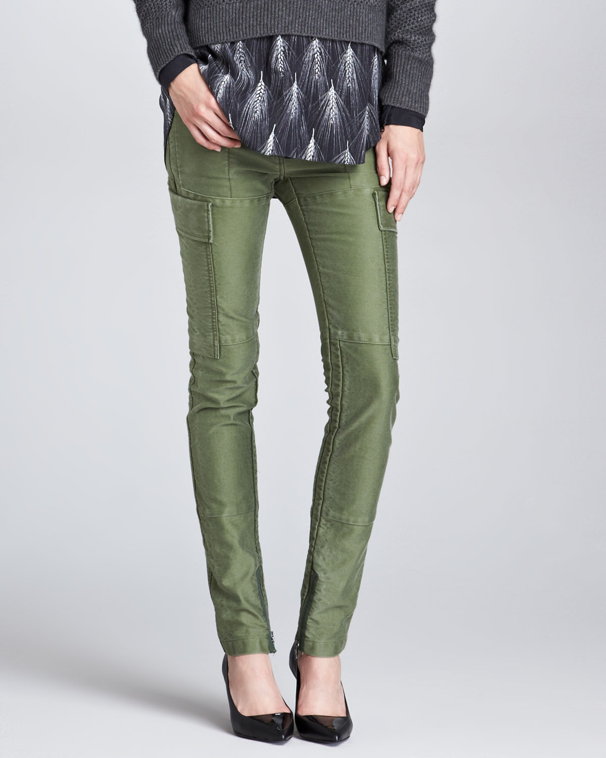 Womens Skinny Patchwork Cargo Pants, Army Green   3.1 Phillip Lim   Army green