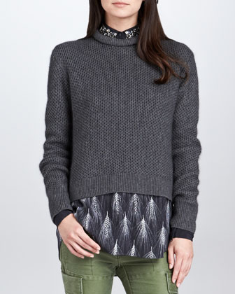Roll-Neck Cropped Pullover, Gray