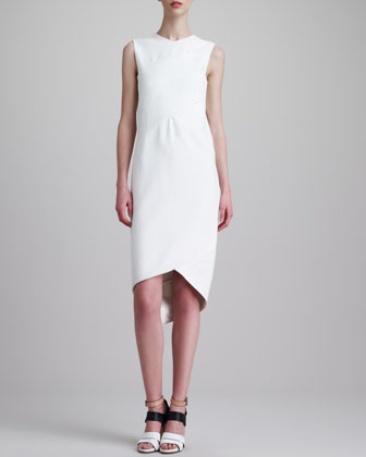 Sleeveless Draped Dress, White