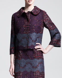 Dolce & Gabbana Lace-Embroidered Tweed Swing Jacket