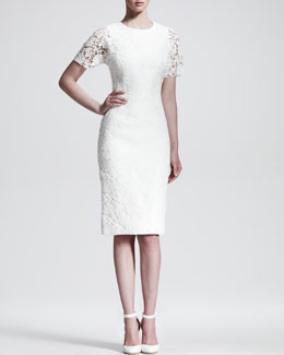 Dolce & Gabbana Brocade Lace-Sleeve Cocktail Dress