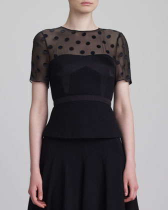Short-Sleeve Dot-Yoke Peplum Top