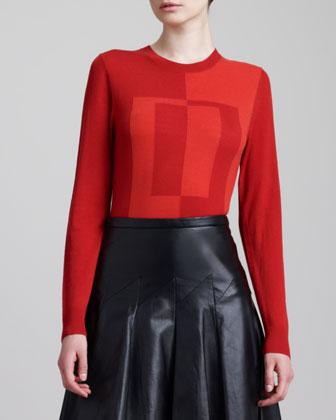 Colorblock Instarsia Crewneck Sweater, Red