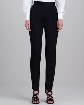 High-Waist Stovepipe Pants, Black
