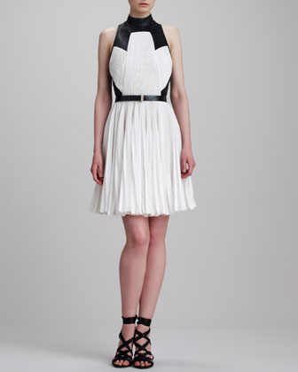 Pleated T-Back Combo Dress