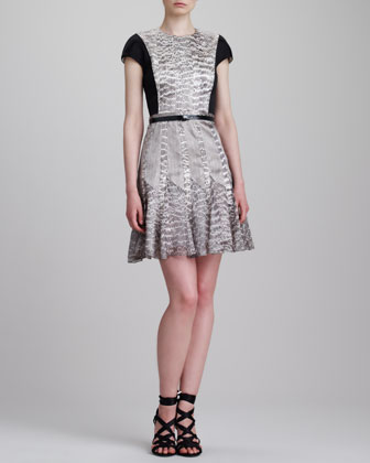 Cap-Sleeve Snake-Print Combo Dress