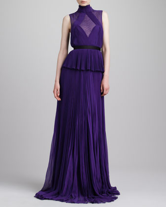 Swiss Dot-Inset Pleated Peplum Gown, Violet
