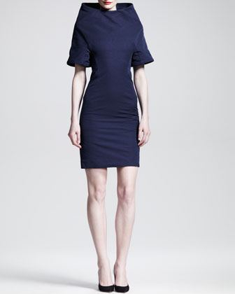 Raised-Neck Cotton/Silk Dress