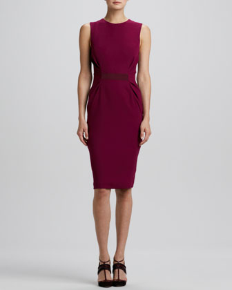 Sleeveless Gathered-Side Sheath Dress