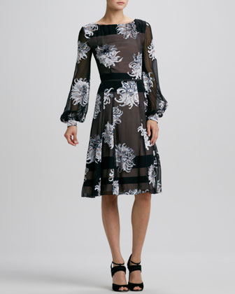 Long-Sleeve Dahlia Devore Dress
