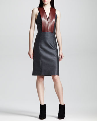 Sleeveless Leather-Bib Dress