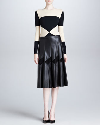 Long Pleated Leather Skirt, Black