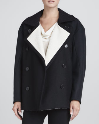 Contrast-Lined Pea Coat, Black/Navy/White