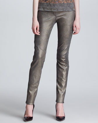 Leather Leggings with Metallic Sheen