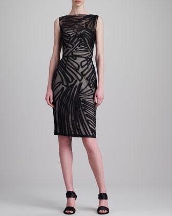 Fil Coupe Boat-Neck Dress, Black