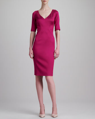Stretch Satin Twill Dress, Fuchsia