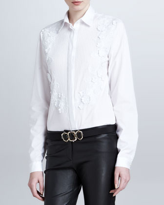 Floral-Applique Boyfriend Blouse, White