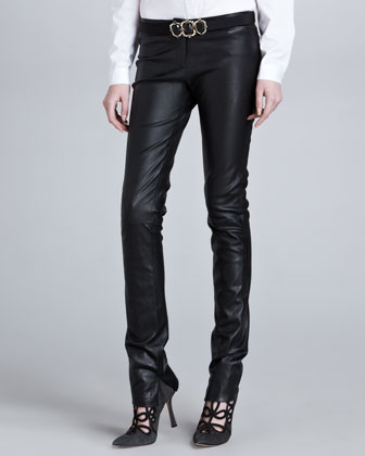 Low-Rise Skinny Leather Pants, Black