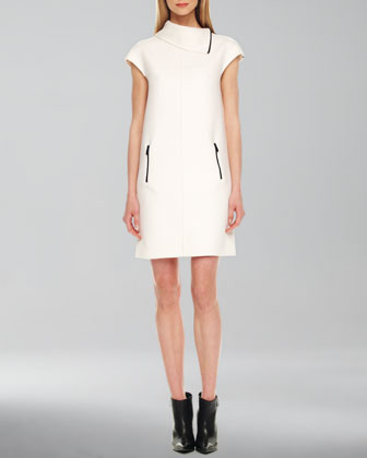 Contrast-Zipper Shift Dress
