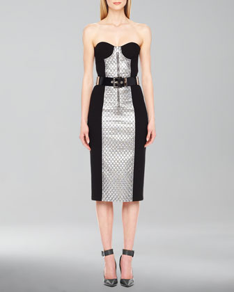Lame-Panel Strapless Dress