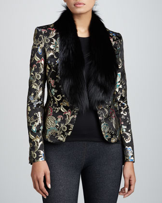 Brocade Jacket with Fox Fur Collar