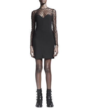 Long-Sleeve Sheer Lace-Top Dress