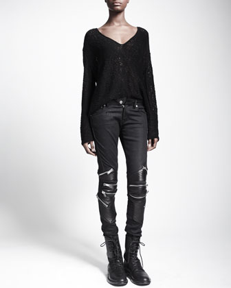 Zip-Detail Leather-Knee Jeans