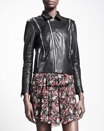 Zip-Trim Leather Biker Jacket & Floral-Print V-Back Dress