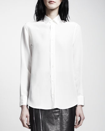 Covered-Button-Down Blouse